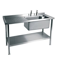 Stainless Steel Single Bowl Sink Left Hand Drain 1200x600mm (Taps Not Included)