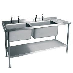 Stainless Steel Double Bowl Sink Right Hand Drainer 1500x600mm