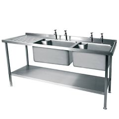 Stainless Steel Double Bowl Sink Left Hand drainer 1800x600mm