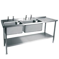 Stainless Steel Double Bowl Sink Right Hand Drainer 1800X600mm (Taps Not Included)