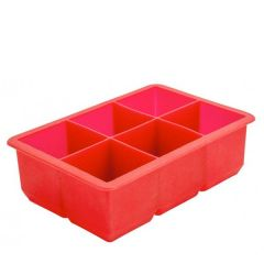 """Silicone 6 Compartment Ice Cube Tray Producing 2"""" / 5cm Cubes"""