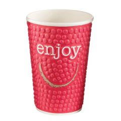 Enjoy Bubble Embossed Double Wall Hot Cup 16oz / 45cl (Mixed Colours)