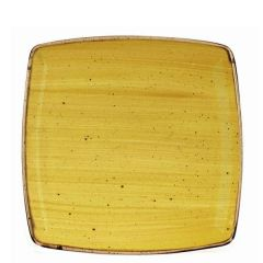 "Churchill Stonecast Mustard Seed Yellow Deep Square Plate 10.5"" / 26.8cm"