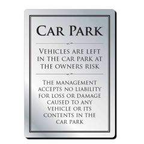 Brushed Silver Bar Signage Car Park 297 x 210mm