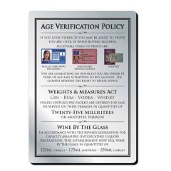 Brushed Silver Bar Signage Age Verification Policy inc 35ml Weights & Measures A