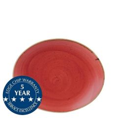 """Churchill Stonecast Berry Red Oval Coupe Plate 7.75"""" / 19.2cm"""