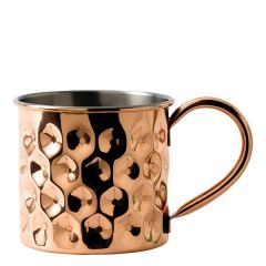Solid Copper Straight Dented Mug with Nickel Lining 17oz / 48cl
