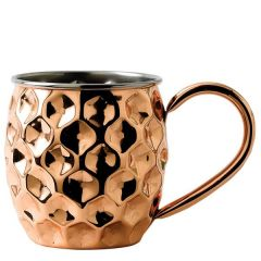 Solid Copper Round Dented Mug with Nickel Lining 17oz / 48cl