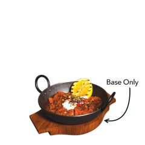 "Wooden Base For Black Iron Handled Round Karahi Dish 6"" / 15.25cm"