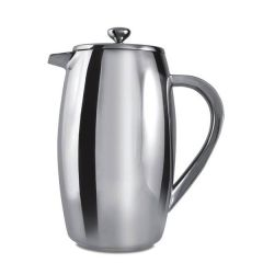 Cafe Ole Stainless Steel Double Wall 6 Cup Bellied Cafetiere Mirror Finish