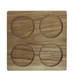 Oak One Piece Square Board with Four Recesses & Finger Lifts 190x190mm