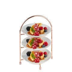 Copper Wire 3 Tier Cake Stand For 17cm Plates with a 10.5cm foot