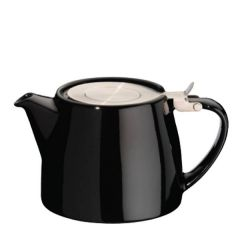 Black Ceramic Stump Teapot with Stainless Steel Lid 18oz / 51cl