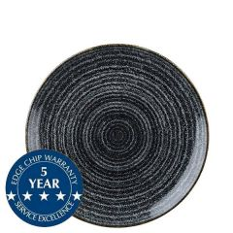 "Churchill Studio Prints Homespun Charcoal Black Coupe Plate 8.66"" / 21.7cm"