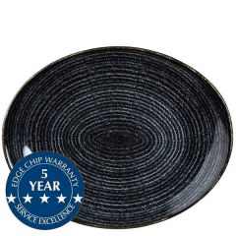 "Churchill Studio Prints Homespun Charcoal Black Oval Coupe Plate 12.5x10"" / 31.7x25.5cm"