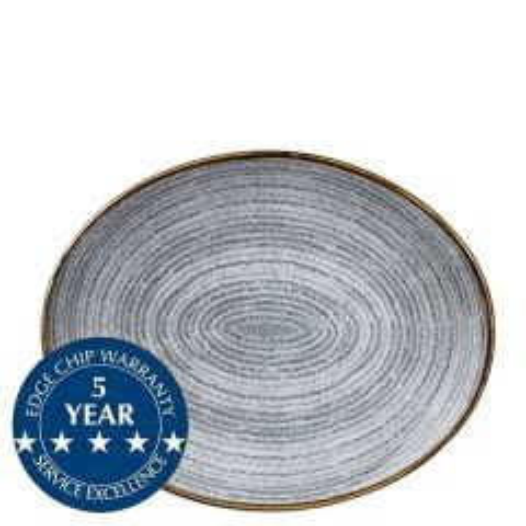"Churchill Studio Prints Homespun Stone Grey Oval Coupe Plate 10.625x9"" / 27x22.9cm"