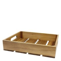 Acacia Wood 1/2 Gastronorm Sized Crate 325 x 265 x 70mm