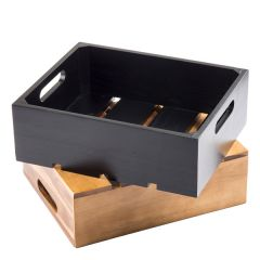 """Black Acacia Wood 1/2 Gastronorm Sized Crate 13 x 10.5 x 2.75"""" / 325 x 265 x 70mm"""
