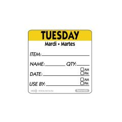 """Tuesday Trilingual Day Of The Week Label 2x2"""" / 50x50mm"""