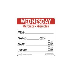 """Wednesday Trilingual Day Of The Week Label 2x2"""" / 50x50mm"""