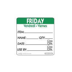 """Friday Trilingual Day Of The Week Label 2x2"""" / 50x50mm"""