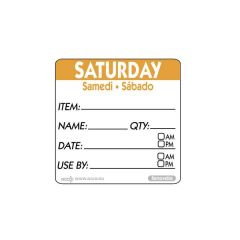 "Saturday Trilingual Day Of The Week Label 2x2"" / 50x50mm"