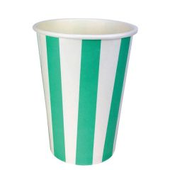 Green Disposable Candy Stripe Cup 16oz / 45.5cl