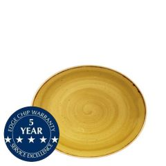 "Churchill Stonecast Mustard Seed Yellow Oval Coupe Plate 7.75"" / 19.2cm"