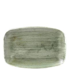 "Churchill Stonecast Patina Burnished Green Chefs' Oblong Plate No.8, 12x7.8"" / 30x19.9cm"