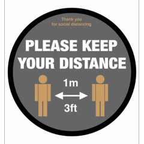 400mm Diameter Anti-Slip Vinyl Floor Graphic Please Keep Your 1M/3Ft Social Distancing