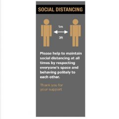 850mm x 2m Pull Up Banner Please Keep 1 Metre / 3Ft Apart Social Distance