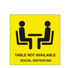 150x150mm Self Adhesive Vinyl Table Not Available Sticker