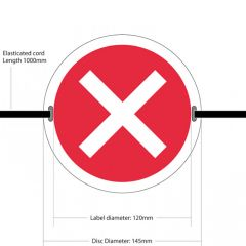 "145mm Diameter Self Adhesive Vinyl ""Cross Symbol"" Seat Marker With Elasticated Cord"
