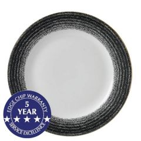"Churchill Studio Prints Homespun Charcoal Black Rimmed Plate 10.875"" / 27.6cm"