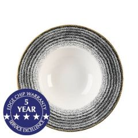 "Churchill Studio Prints Homespun Charcoal Black Profile Wide Rim Bowl 9.5"" / 24cm"