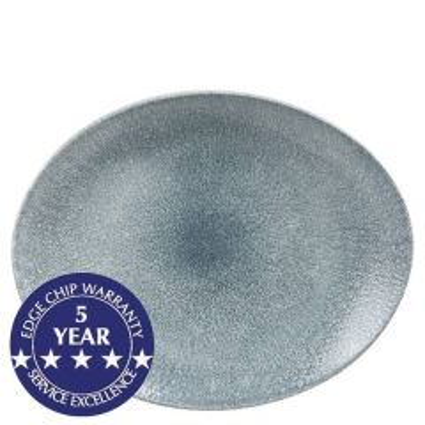 "Churchill Studio Prints Raku Topaz Blue Oval Coupe Plate 12.5x10"" / 31.7x25.5cm"