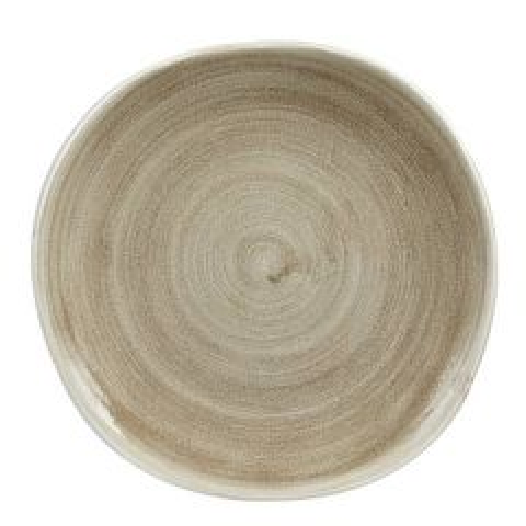 "Churchill Stonecast Patina Antique Taupe Organic Round Plate 10.375"" / 26.4cm"