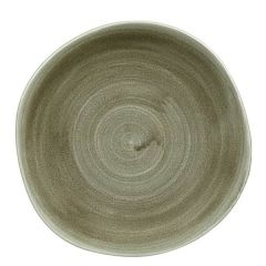 "Churchill Stonecast Patina Burnished Green Organic Round Plate 10.375"" / 26.4cm"