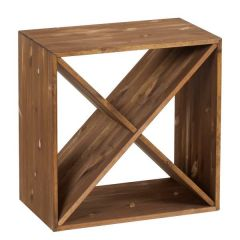 Wooden 24 Bottle Wine Storage Cube Dark Oak Finish 510 x 510 x 300mm