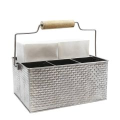 """Brickhouse Stainless Steel Table Caddy with Wooden Handle 10.8x8.3x4.7"""" / 27.5x21x12cm"""