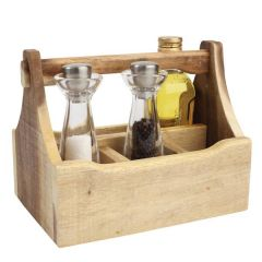 Wooden Nordic Natural 4 Compartment Table Caddy 290x185x220mm