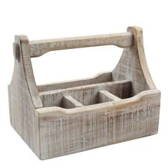 Wooden Nordic White 4 Compartment Table Caddy 290x185x220mm