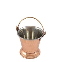 """Clearance Real Copper Footed Bucket With Stainless Steel Liner 4x3.75"""" /"""