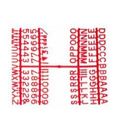"Retro Style Peg Board Red Letter Set of Six Frames 0.5"" / 1.2cm"