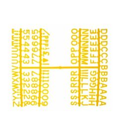 "Retro Style Peg Board Yellow Letter Set of Six Frames 0.5"" / 1.2cm"