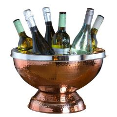 "Copper Plated 6 Bottle Wine Cooler with Polished Steel Lip 15"" / 38cm"