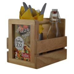 """Rubberwood Condiment Caddy with Menu / Sign Holder 8x6.8"""" / 20.5x17.5cm (WxH)"""