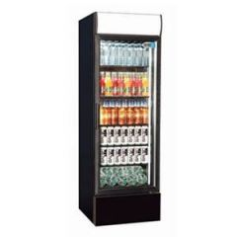Coolpoint Black Upright Single Door Bottle Cooler with LED Lighting 285Ltr 620x580x1935mm