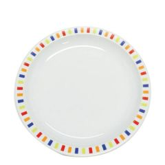 """Harfield Stripes Multi-Coloured Patterned Polycarbonate Plate 9"""" / 23cm"""