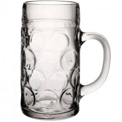 Handled Glass Beer Stein LCE @ 2 Pint, 45oz / 1.3Ltr